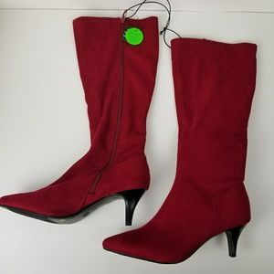 East 5th Navassa red heeled pointed toe boot